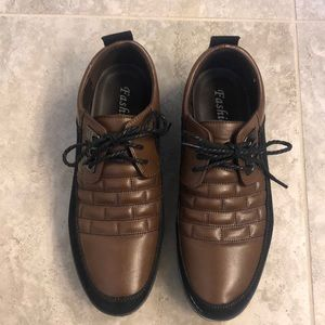 Fashion faux leather brown lace up shoes
